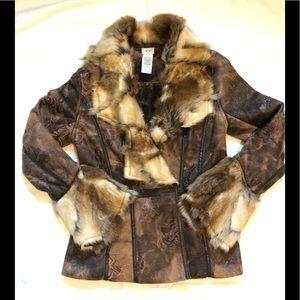 Cache Faux Fur and Fauz Suede Jacket XS EUC